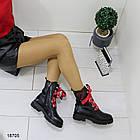 Демисезонные женские черные ботинки, эко кожа, фото 3