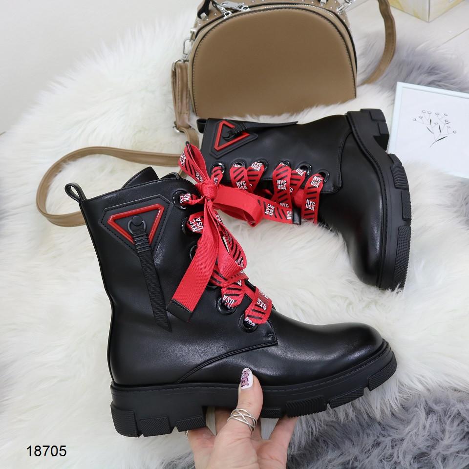 Демисезонные женские черные ботинки, эко кожа