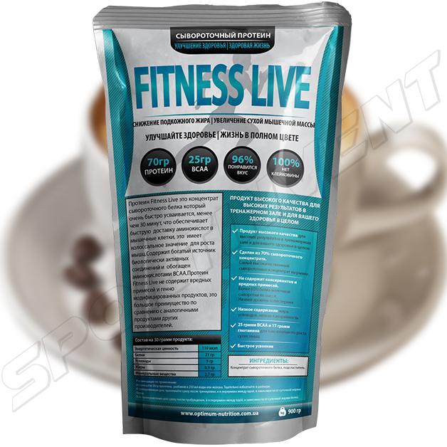 Протеин Fitness Live 900 г, капучино
