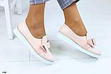 Женские туфли с бантиком на плоском ходу, фото 4