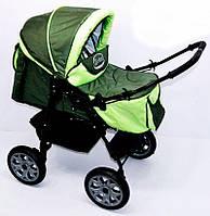 Коляска для детей Viki хаки с салатовым - 228195
