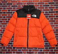 Мужская зимняя куртка - Пуховик в стиле The North Face Nuptse 700 оранжевый