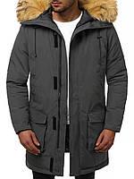 Мужская зимняя длинная куртка (пальто, парка) серая