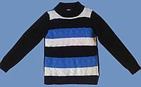 Гольф для мальчика, черный с белыми и синими полосками