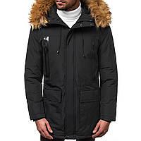 Мужская зимняя длинная куртка (пальто, парка) черная, с капюшоном