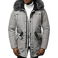 Мужская зимняя длинная куртка (пальто, парка) серая, с капюшоном