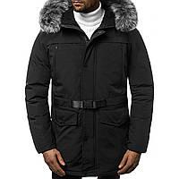 Мужская зимняя длинная куртка (пальто, парка) черный, с капюшоном