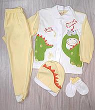 Комплект для новонароджених повзунки+кофта+шапка+царапки,на 3-6 міс арт 5593