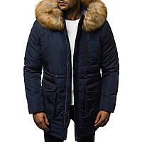 Мужская зимняя длинная куртка (пальто, парка) с капюшоном, синяя