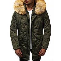 Мужская зимняя длинная куртка (пальто, парка) с капюшоном, оливковая-хаки
