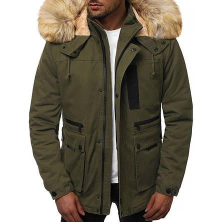 Мужская зимняя длинная куртка (пальто, парка) с капюшоном, оливковая-хаки, фото 2
