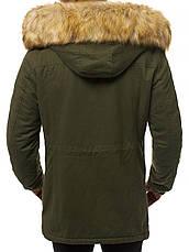 Мужская зимняя длинная куртка (пальто, парка) с капюшоном, оливковая-хаки, фото 3