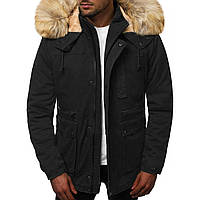 Мужская зимняя длинная куртка (пальто, парка) с капюшоном, черная