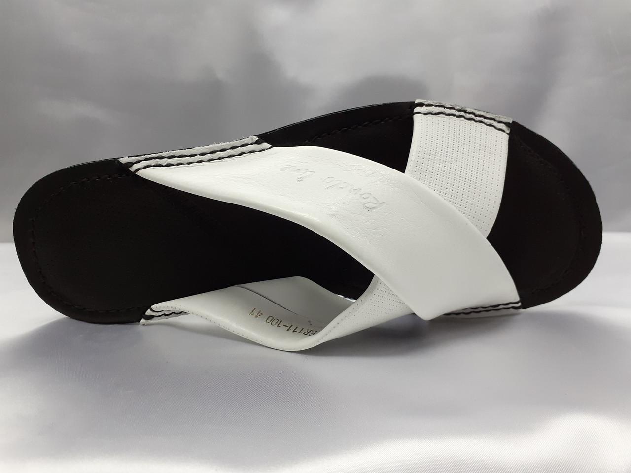 Стильные кожаные белые шлёпанцы Rondo