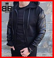 Мужская куртка Бомбер с капюшоном. Цвет черный.