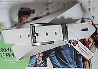 Кожаный ремень для джинсов Levis белый, фото 1
