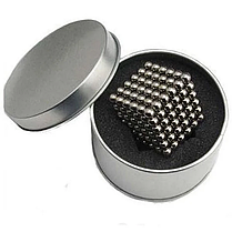 Магнитный кубик конструктор-головоломка Куб Нео Neo Cube 5 мм Серебристый, фото 3