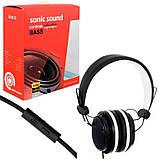 Дротові навушники з мікрофоном Sonic Sound E288 Чорно-білі, фото 7
