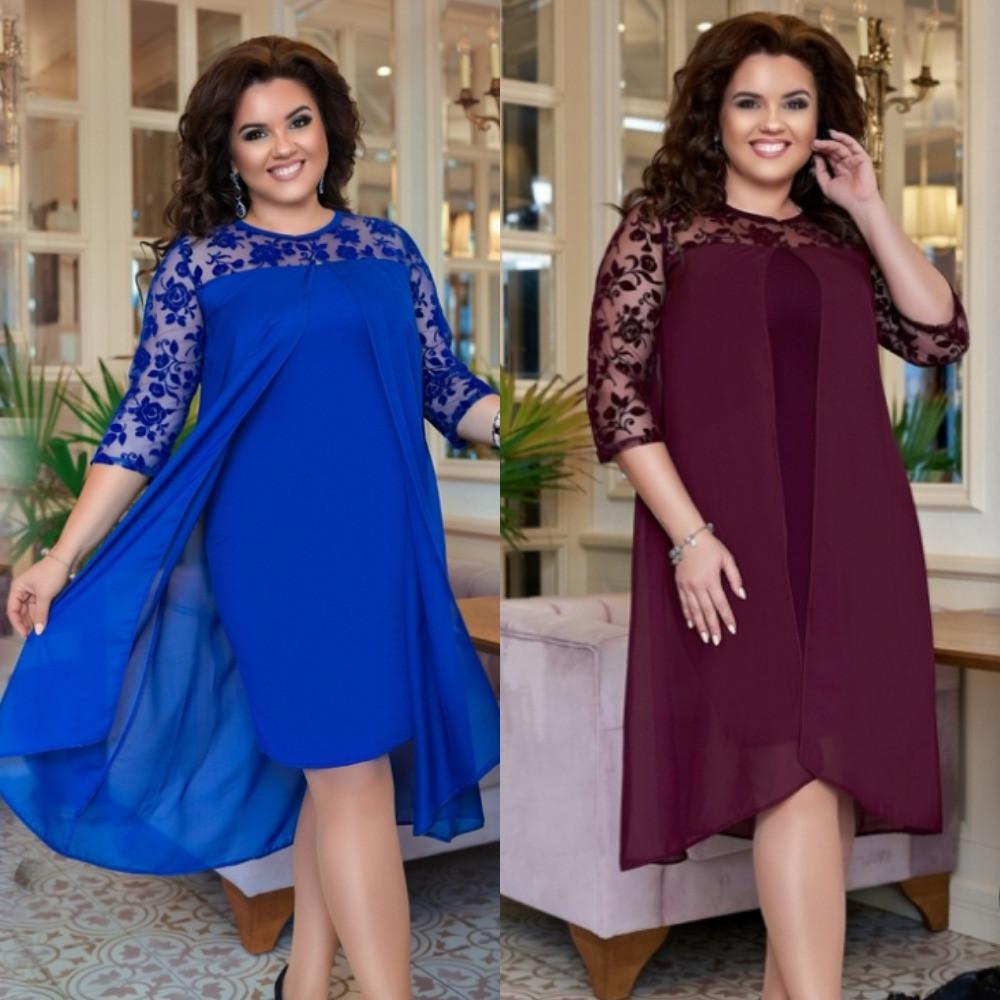 Платье женское, нарядное, большого размера, стильное, верх шифон, модное, вечернее, до 56 размера