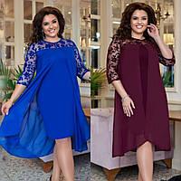 Платье женское, нарядное, большого размера, стильное, верх шифон, модное, вечернее, до 56 размера, фото 1