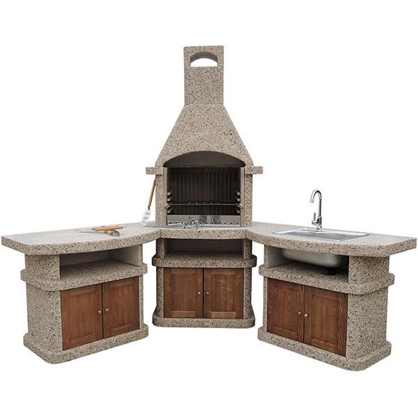 Камин барбекю «Сицилия» угловой комплект с дверцами