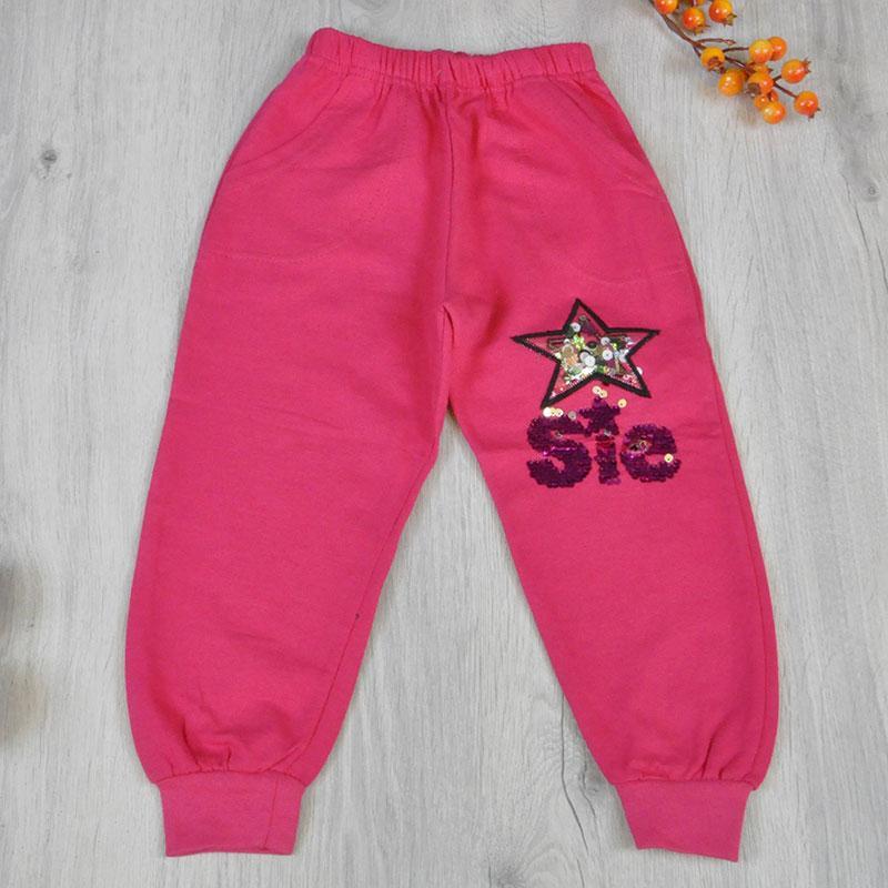 Детские спортивные штаны из плотного трикотажа (Турция), рисунок из пайетков, для девочки 5-8 лет (4 ед в уп)