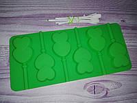 Силиконовая форма для конфет с палочками Сердце двойное
