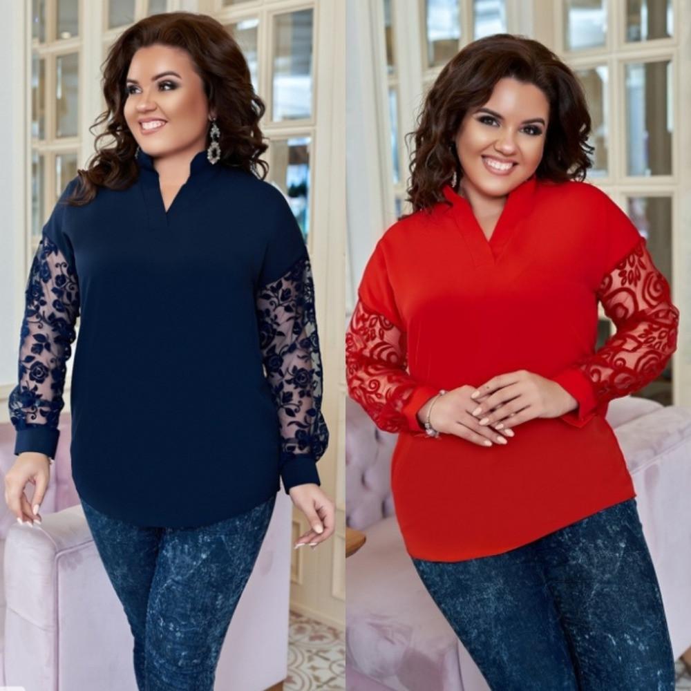 Блузка женская нарядная, большого размера, ровного кроя, свободная, повседневная, от 48 до 60 р-ра