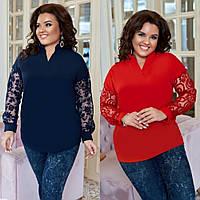 Блузка женская нарядная, большого размера, ровного кроя, свободная, повседневная, от 48 до 60 р-ра, фото 1