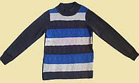Гольф для мальчика, серый с белыми и синими полосками