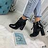 Демисезонные женские ботинки на каблуке черные эко лак //В НАЛИЧИИ ТОЛЬКО 40р, фото 4