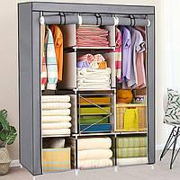 Текстильний складаний шафа HCX на 3 секції «88130 gray» 130х45х175 див. Сірий, фото 1