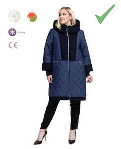 Зимнее женское комбинированное пальто, с искусственным мехом каракуля, м- 663, больших размеров ( 58 - 68 )