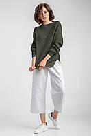Мягкий женский вязаный джемпер свитер с прорезями, фото 1