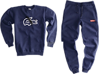 Трикотажный костюм Lacoste x Supreme (Premium-class) темно-синий