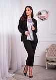Женский брючный костюм тройка пиджак+майка+брюки батал размер:48-50,52-54,56-58,60, фото 6