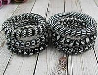 Резинка - браслет - пружинка черный/белый матовая, фото 1