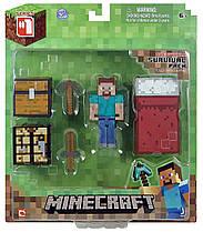Стив набор для выживания Майнкрафт Minecraft Overworld Survival Pack Steve Action оригинал