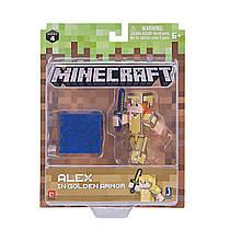Алекс в золотой броне фигурка Майнкрафт Minecraft Alex in Gold Armor pack