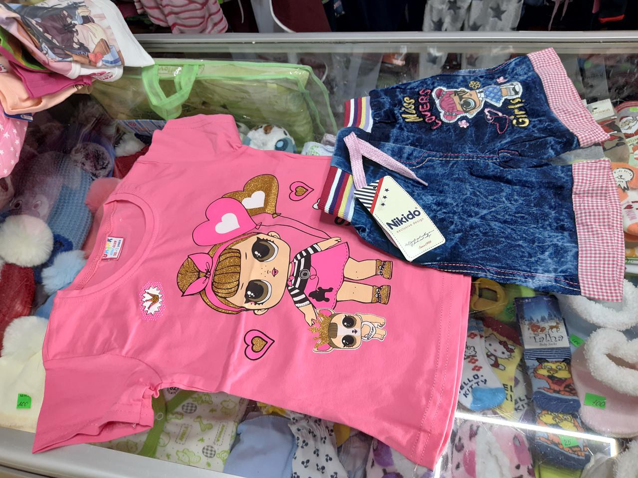 Летний детский костюм для девочки с Джинсовыми шортами Лол р.74 -110