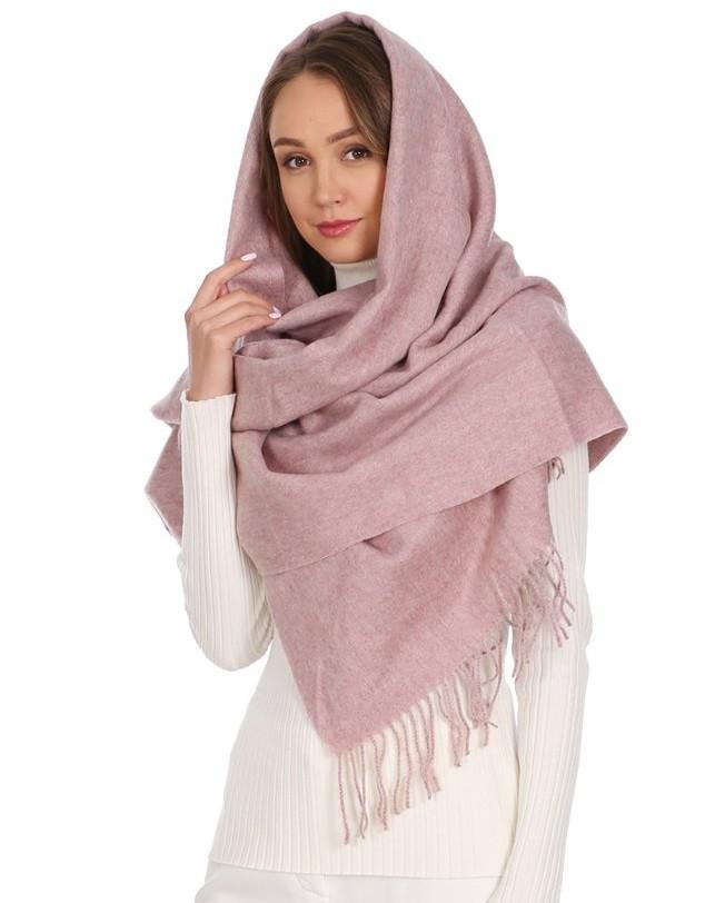 Теплый шарф с бахромой 190х70 см цвет белый