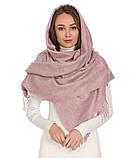 Теплый шарф с бахромой 190х70 см цвет белый, фото 7