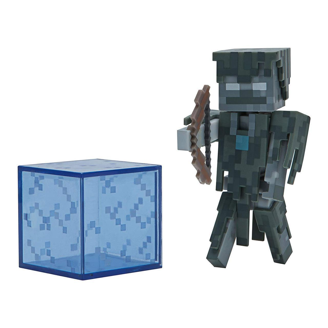 Фигурка Зимогор с блоком Стрей Майнкрафт Minecraft Stray Figure Pack оригинал Jazwares стрэй