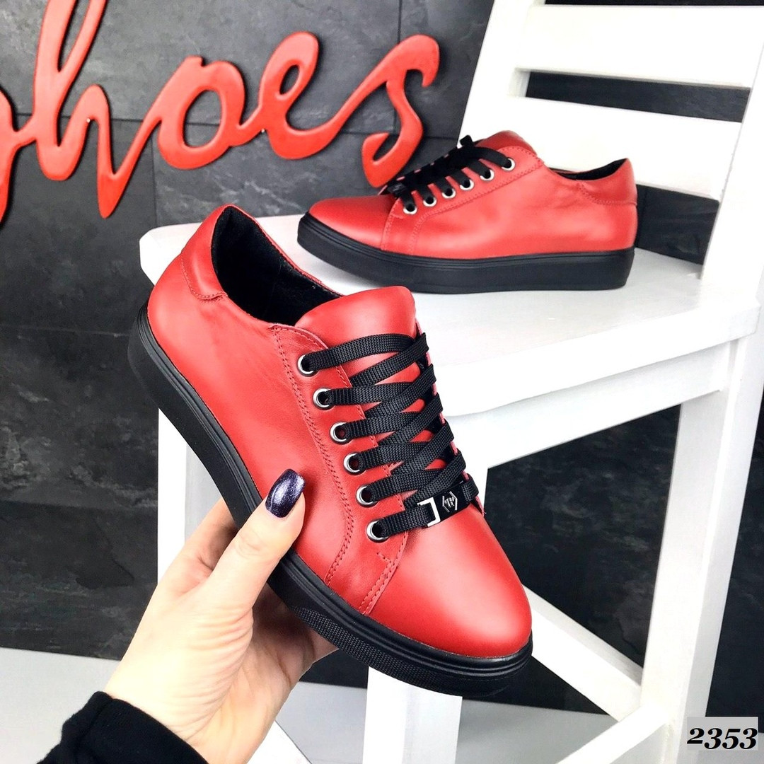 Женские кеды красного цвета (под бренд) ,натуральная кожа 41 ПОСЛЕДНИЙ РАЗМЕР