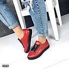 Женские кеды красного цвета (под бренд) ,натуральная кожа 41 ПОСЛЕДНИЙ РАЗМЕР, фото 4