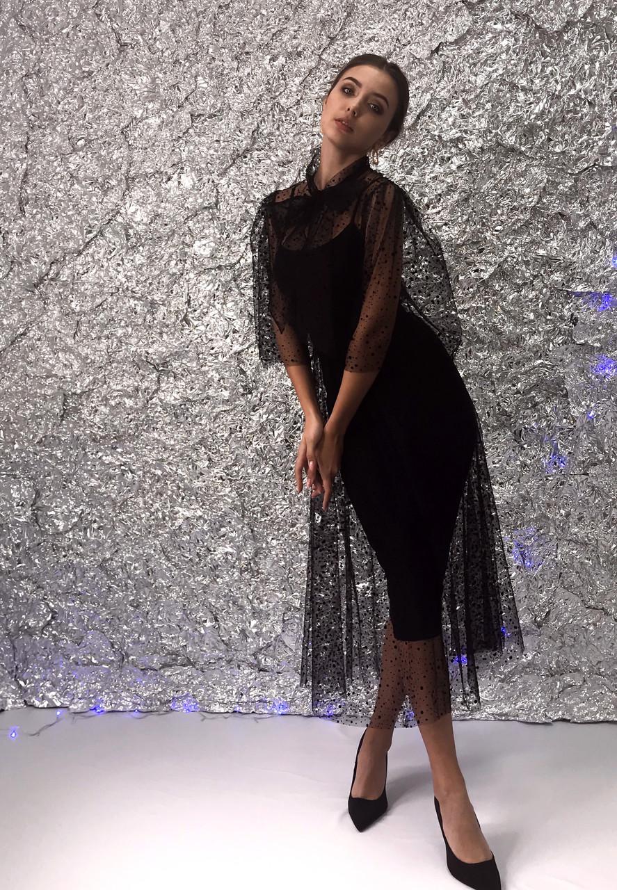 Нарядное женское платье из сетки