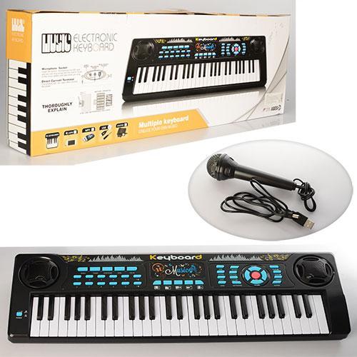 Детский синтезатор с микрофоном (54 клавиши, 4,5 октав) от сети