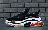Кроссовки Balenciaga Triple S Black/Red / Баленсиага, черные