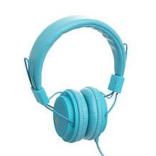 Навушники шкіряні Sonic Sound E322B/MP3 Колір Блакитний