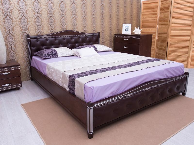 Кровать Прованс патина и фрезеровка мягкая спинка ромбы.ТМ Олимп